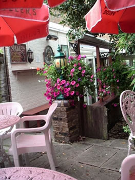 Patio area at Prince of Wales Pub Oatlands Village, between Weybridge and Walton On Thames Surrey